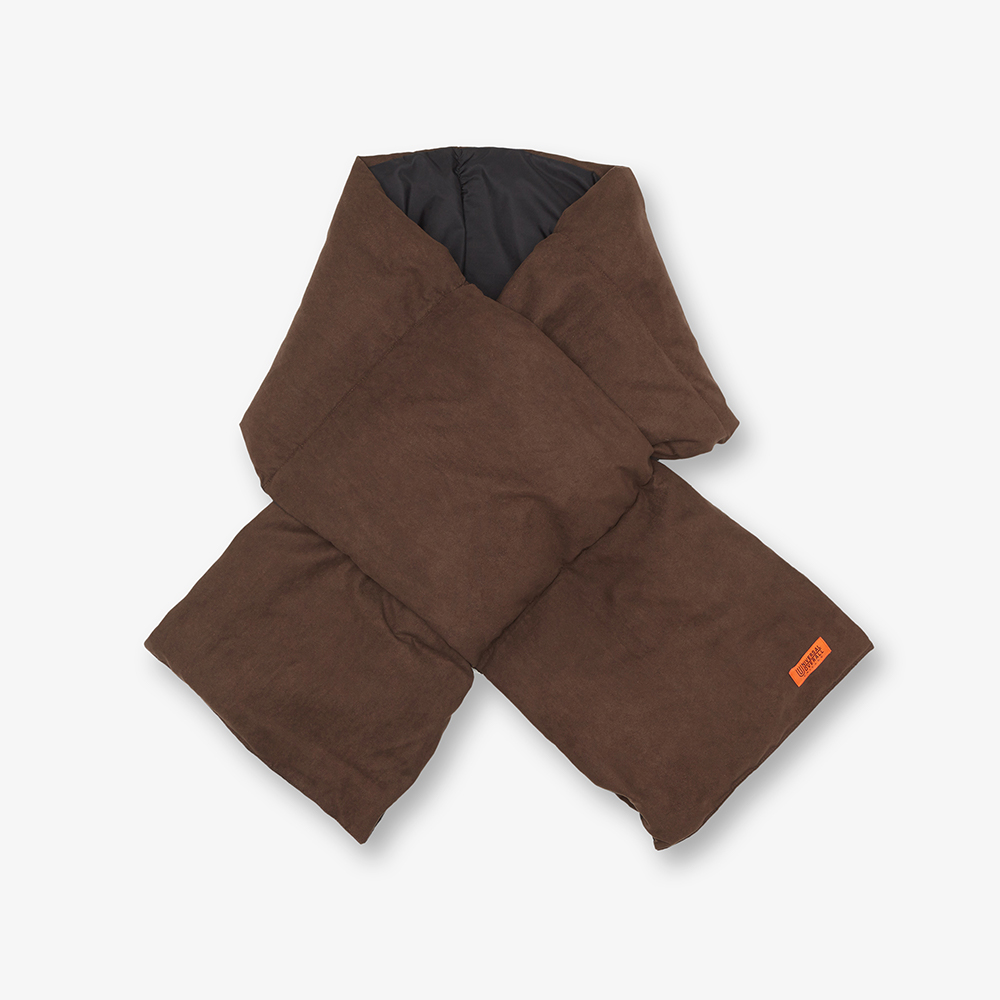 SUEDE DOWN PADDING SCARF BROWN