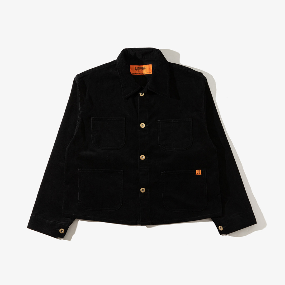 CORDUROY SHORT COVERALL BLACK